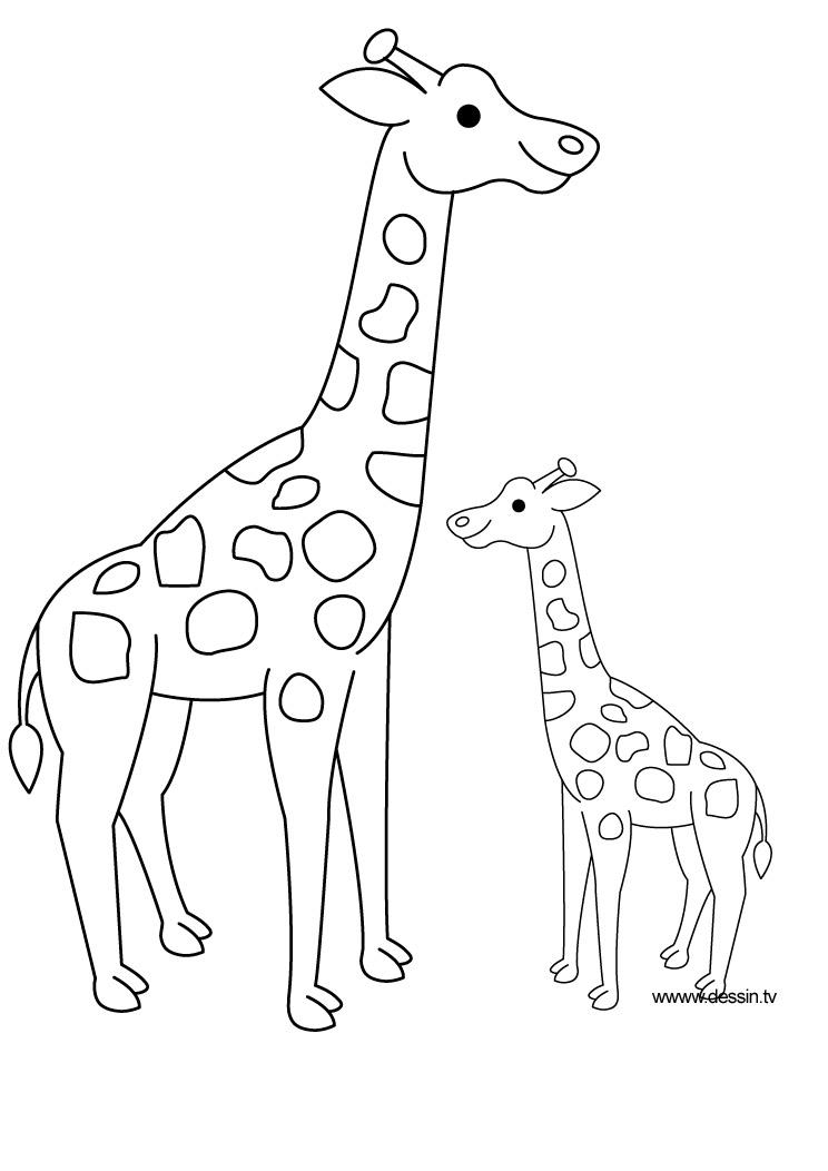 jeux de dessin à colorier girafe