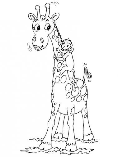 dessin à colorier girafe gratuit imprimer