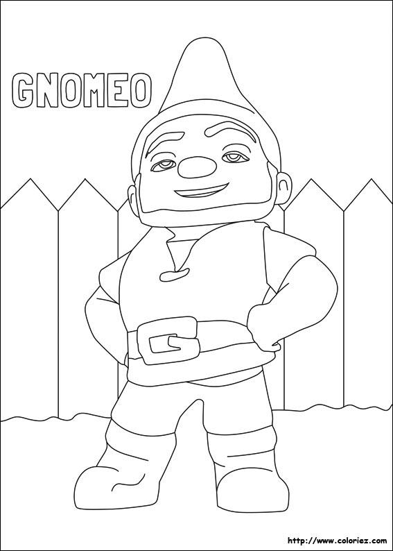 coloriage de gnomeo et juliette