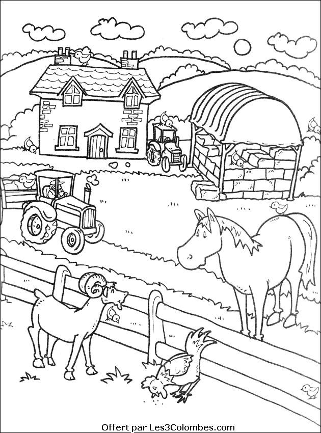 10 dessins de coloriage gratuit imprimer la ferme en folie imprimer - Dessin de ferme ...