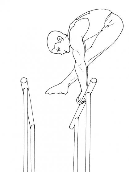 dessin de gymnastique au barre