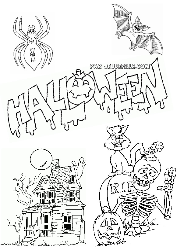 dessin a colorier halloween qui fait peur. Black Bedroom Furniture Sets. Home Design Ideas