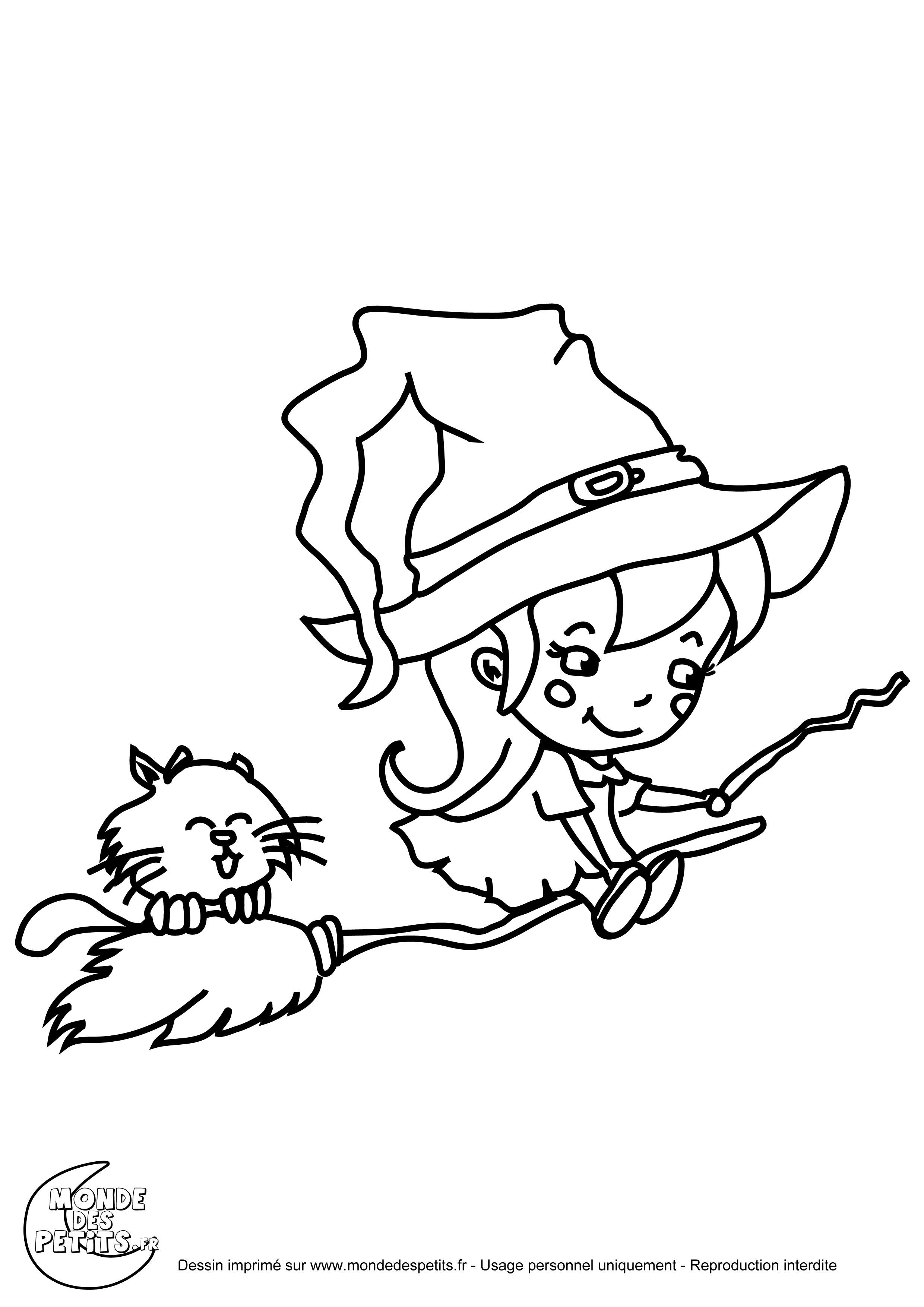 100 dessins de coloriage halloween sorci re imprimer - Halloween dessin ...