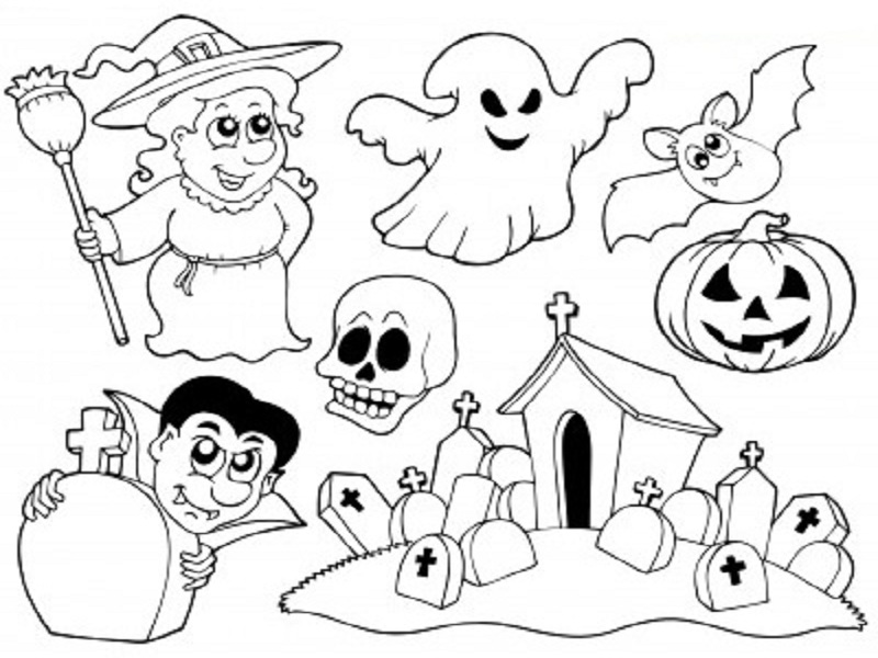coloriage halloween qui fait peur. Black Bedroom Furniture Sets. Home Design Ideas