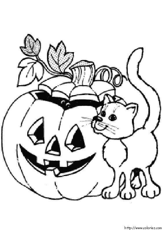 coloriage à dessiner halloween a imprimer citrouille