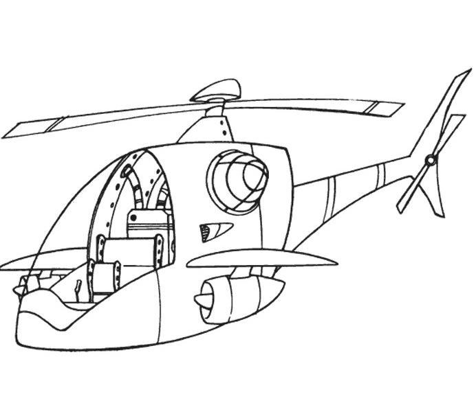 coloriage à dessiner helicoptere pompier