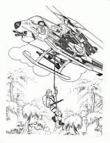 coloriage à dessiner hélicoptère de guerre