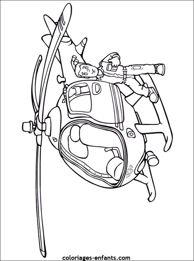 coloriage à dessiner hélicoptère de police