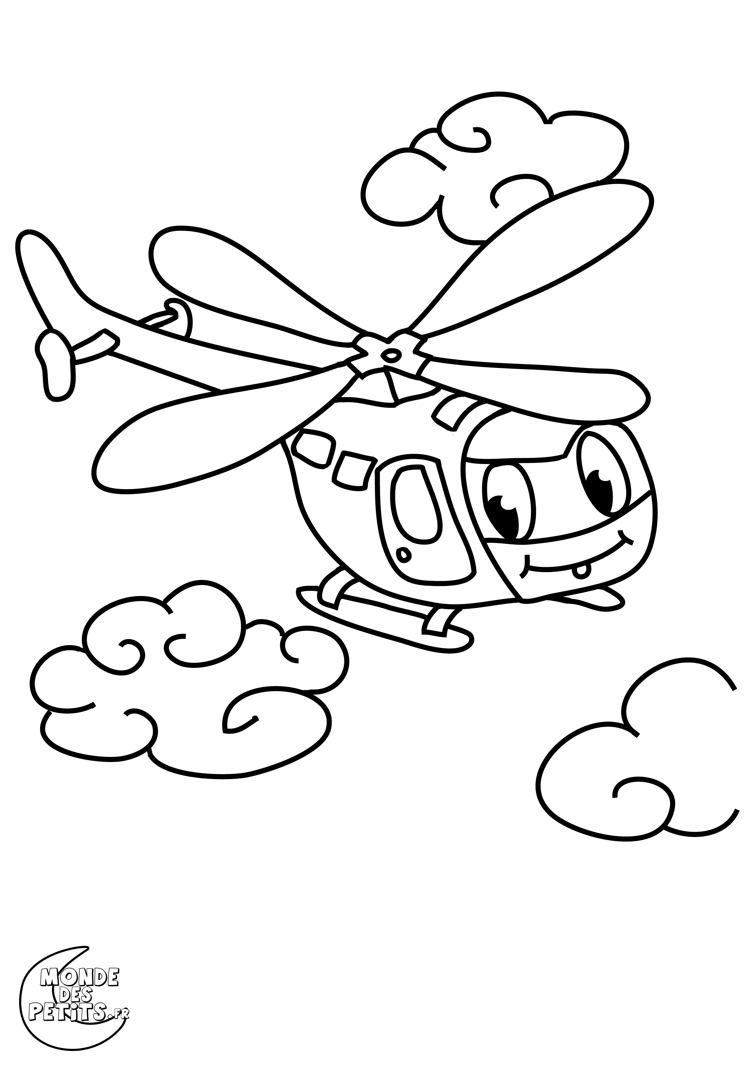 Image a colorier helicoptere - Helicoptere dessin ...