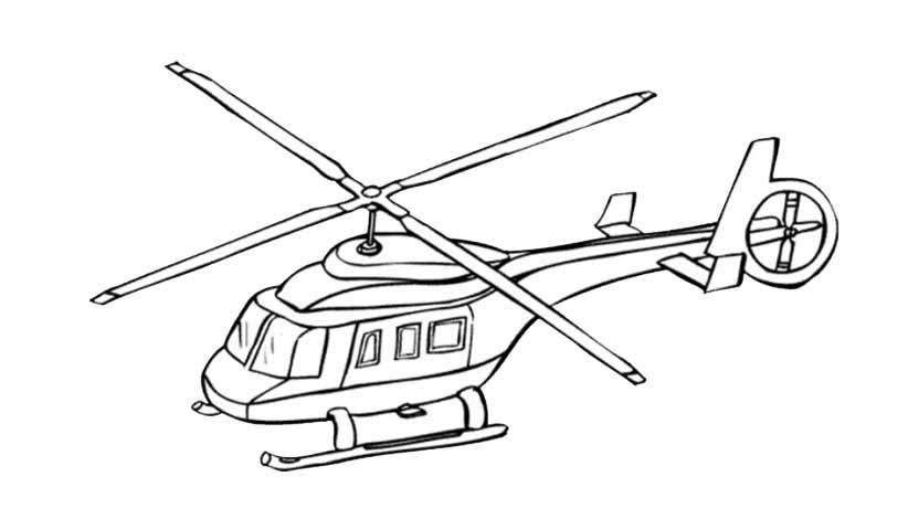 dessin à colorier helicoptere