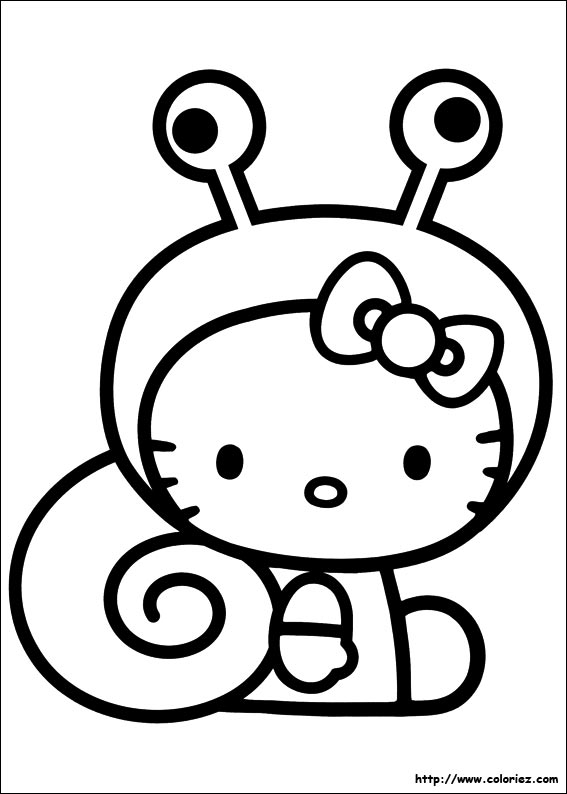 18 dessins de coloriage hello kitty hugo l 39 escargot imprimer - Coloriage hello kitty ...