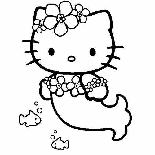Coloriage204 Coloriage Hello Kitty Sirene