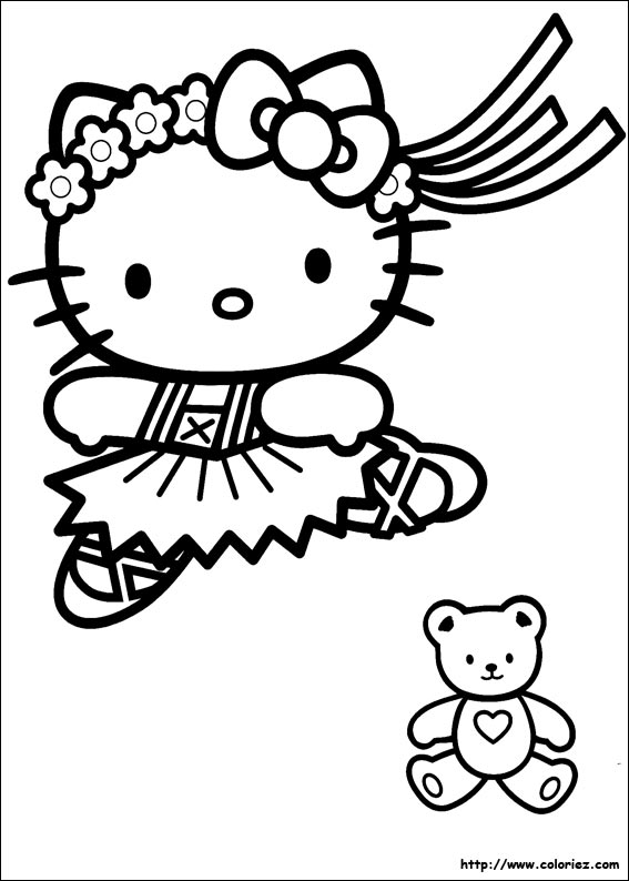 coloriage tv hello kitty coeur