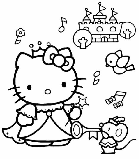 coloriage hello kitty en voiture