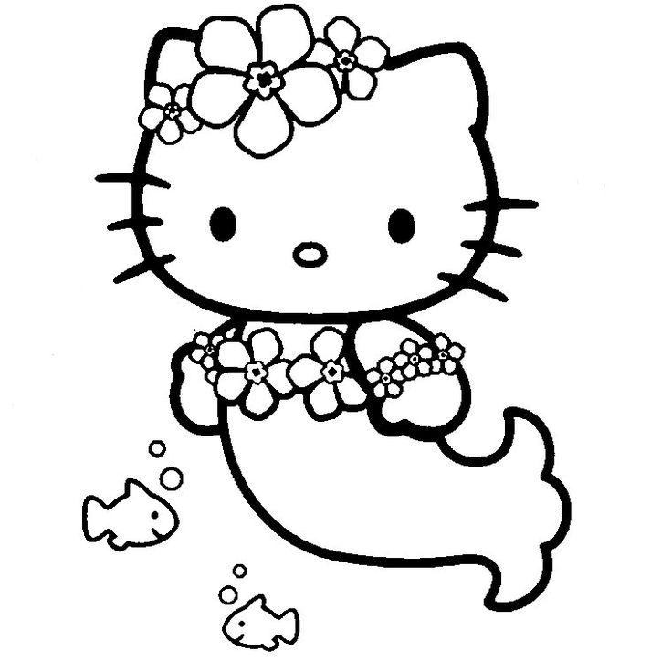 coloriage hello kitty sirene en ligne