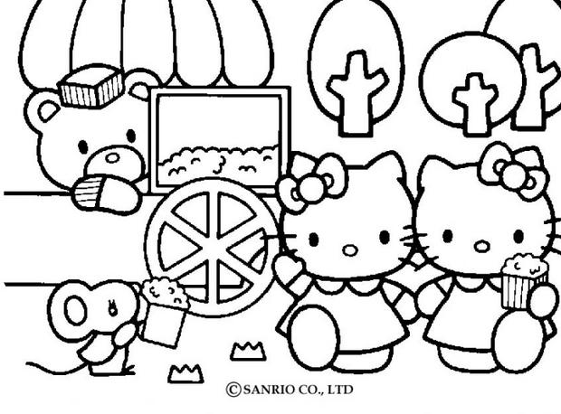 Coloriage gratuit hello kitty - Coloriage hello kitty jeux ...