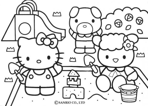 coloriage hello kitty zoo