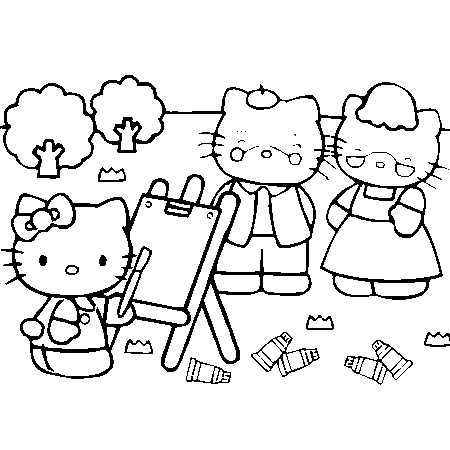 coloriage hello kitty sur hugo l'escargot