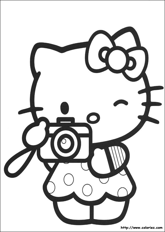 coloriage hello kitty neige