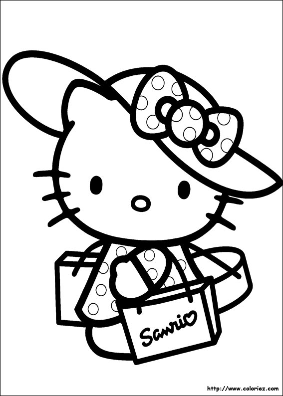 coloriage hello kitty bon anniversaire