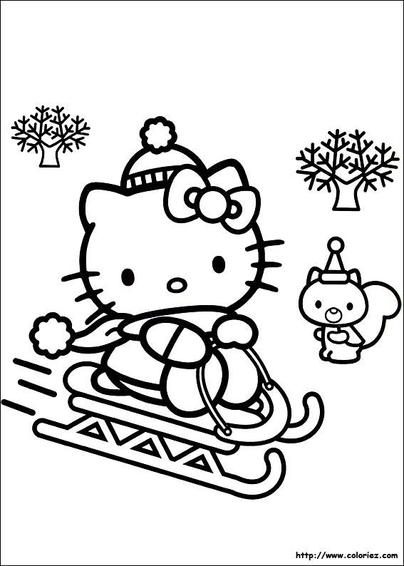 coloriage hello kitty dans son bain
