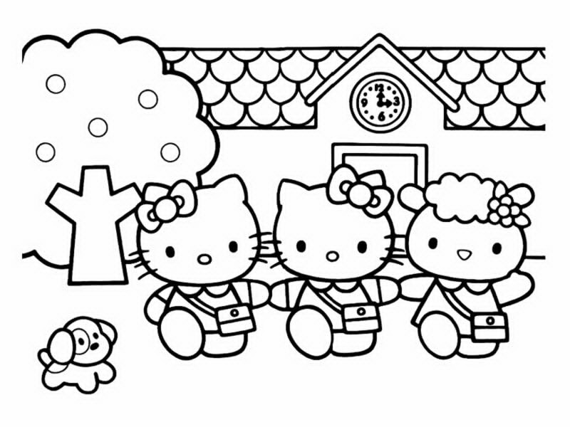 coloriage hello kitty et les animaux
