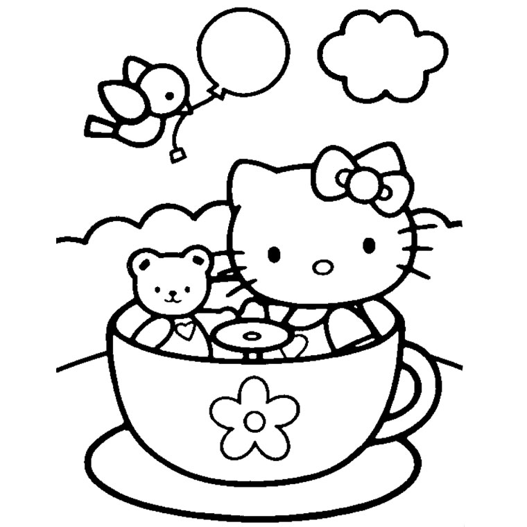 Coloriage hello kitty avec un coeur a imprimer - Imprimer coloriage hello kitty ...