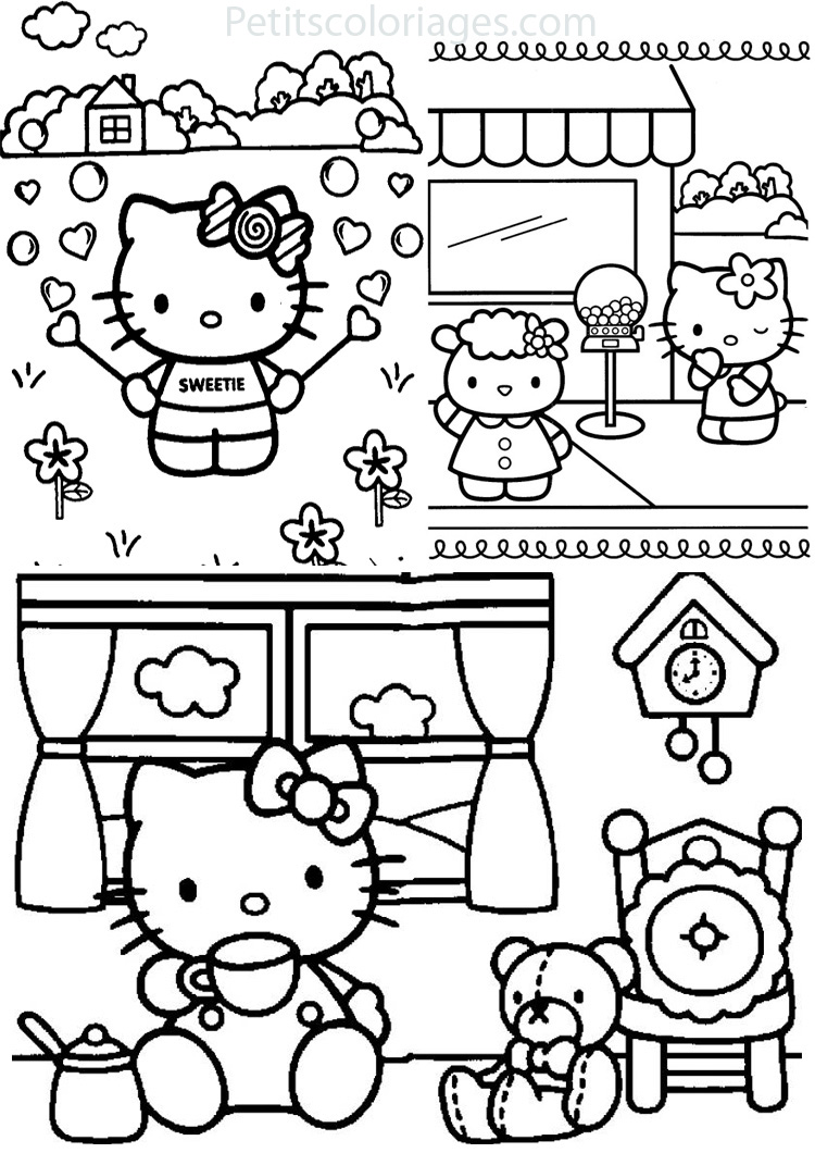 Coloriage hello kitty et les animaux - Hello kitty jeux coloriage ...
