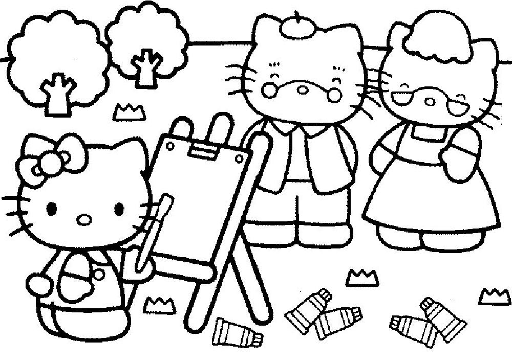 coloriage hello kitty peinture