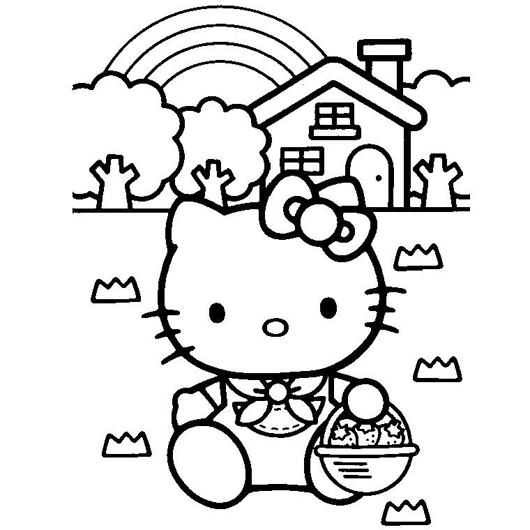 coloriage hello kitty avec un coeur a imprimer