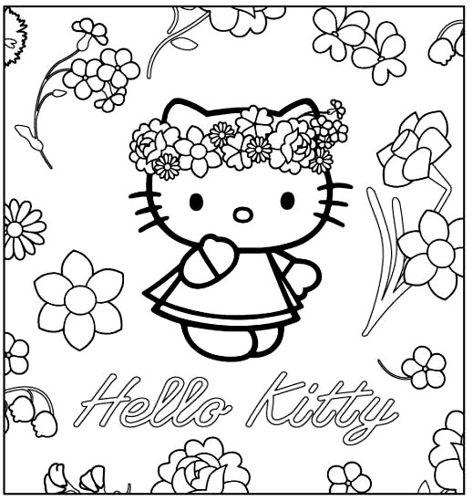 coloriage gratuit hello kitty princesse
