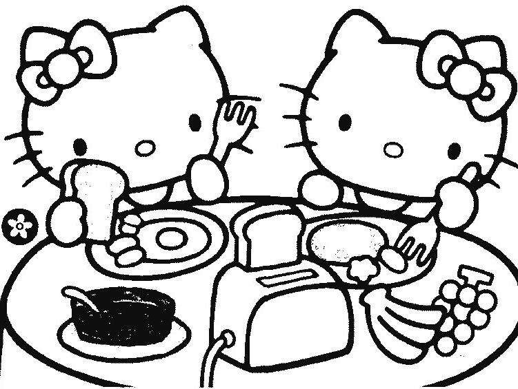 Coloriage De Hello Kitty Bãbã Gratuit