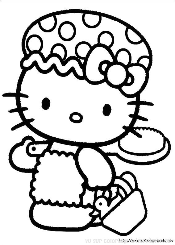 coloriage hello kitty à l'école
