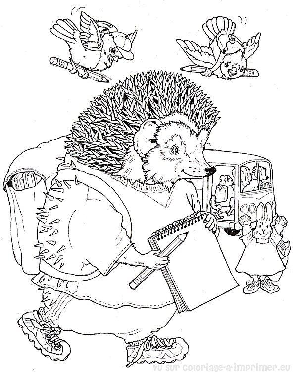 dessin à colorier samson le hérisson