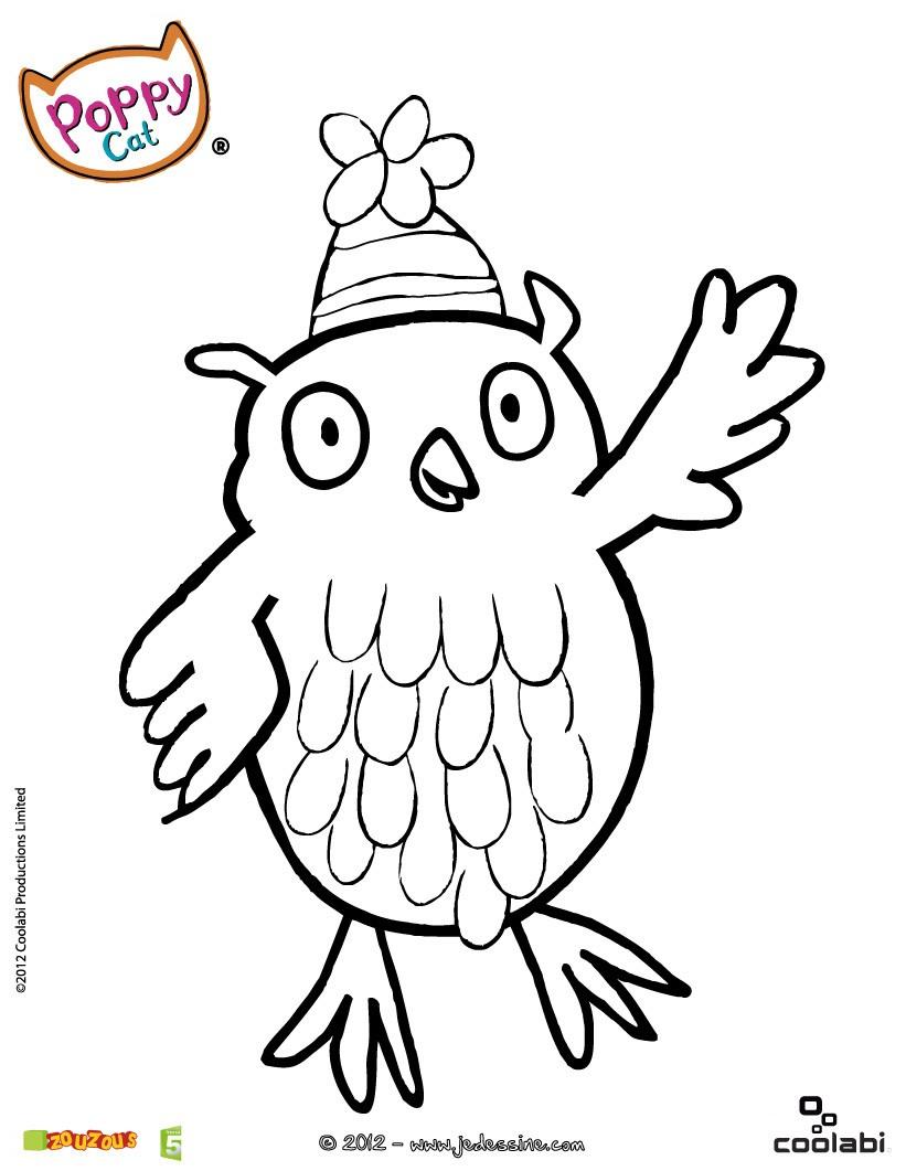 dessin à colorier hibou imprimer gratuit