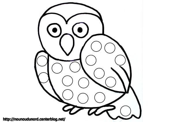 dessin à colorier hibou mandala