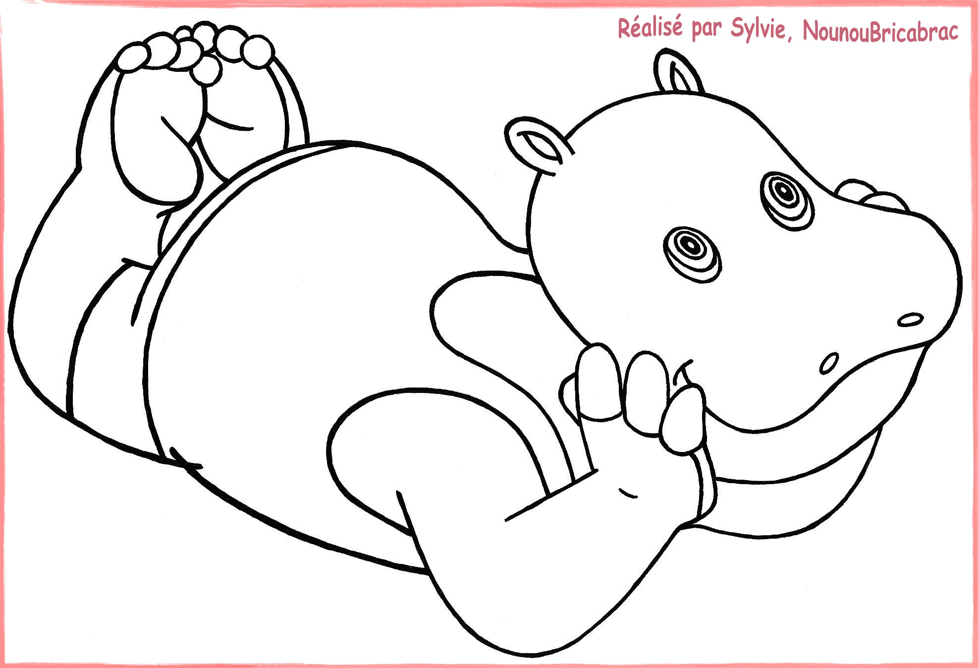23 Dessins De Coloriage Hippopotame à Imprimer