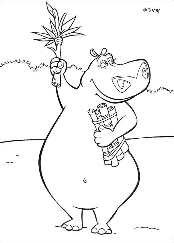 dessin à colorier d'hippopotame gratuit