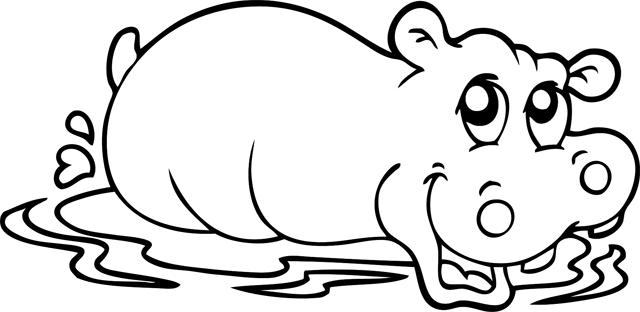 coloriage à dessiner d'hippopotame a imprimer