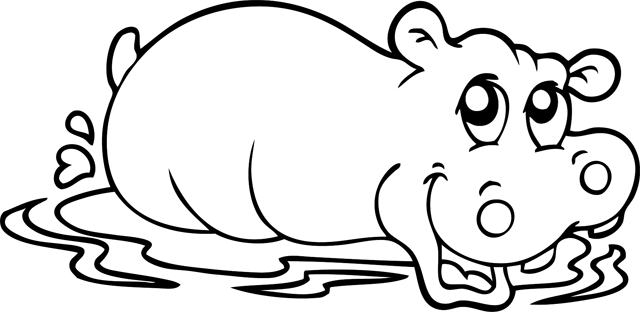 coloriage � dessiner d'hippopotame a imprimer