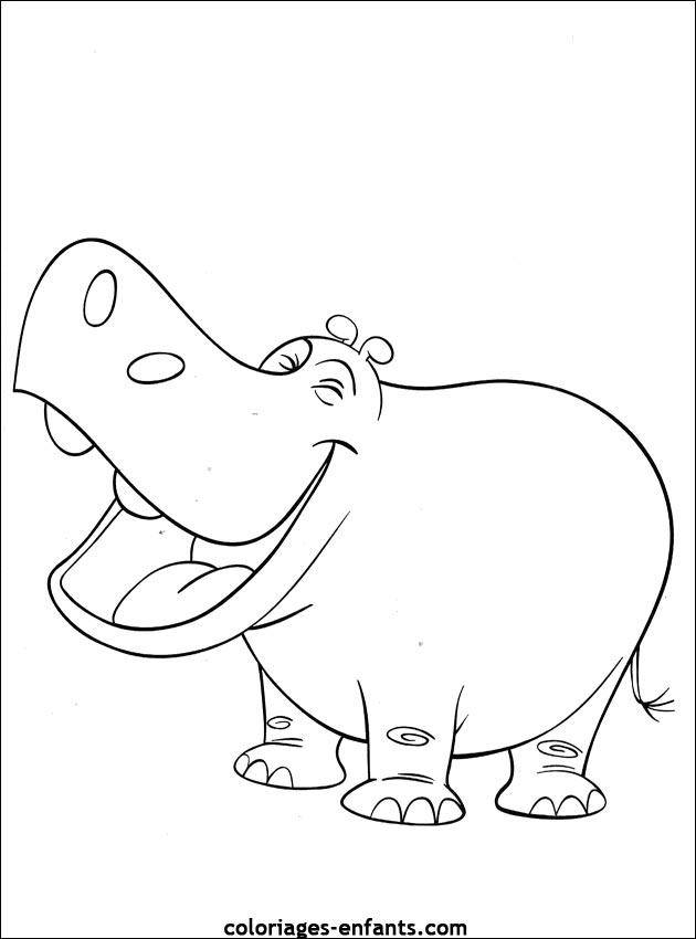 coloriage hippopotame � imprimer