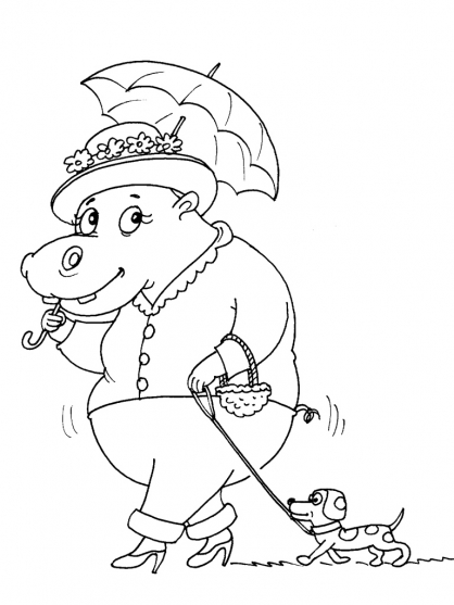 dessin coloriage à dessiner hippopotame