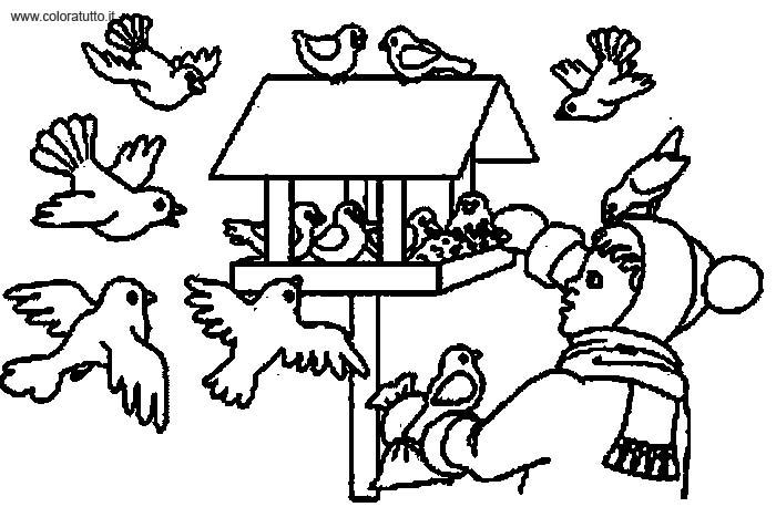 dessin à colorier animaux hiver