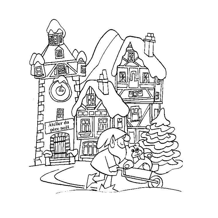 dessin à colorier l'hiver de léon