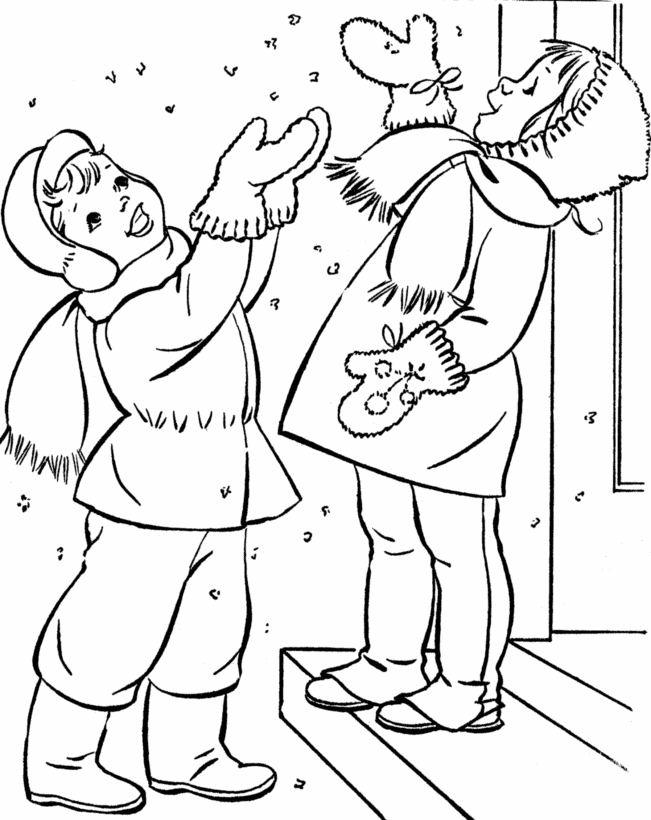 coloriage à dessiner hiver nounou
