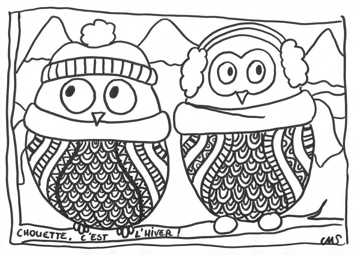 coloriage à dessiner d'hiver pour petit