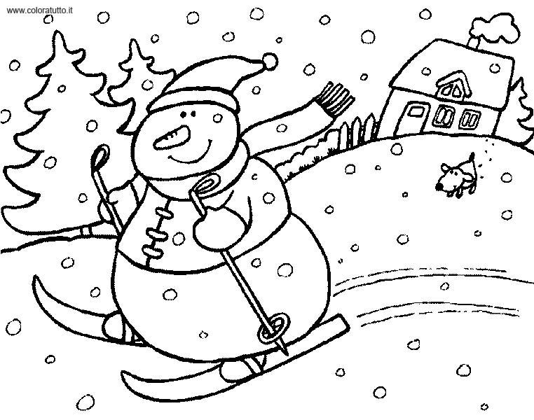 dessin à colorier fille hiver