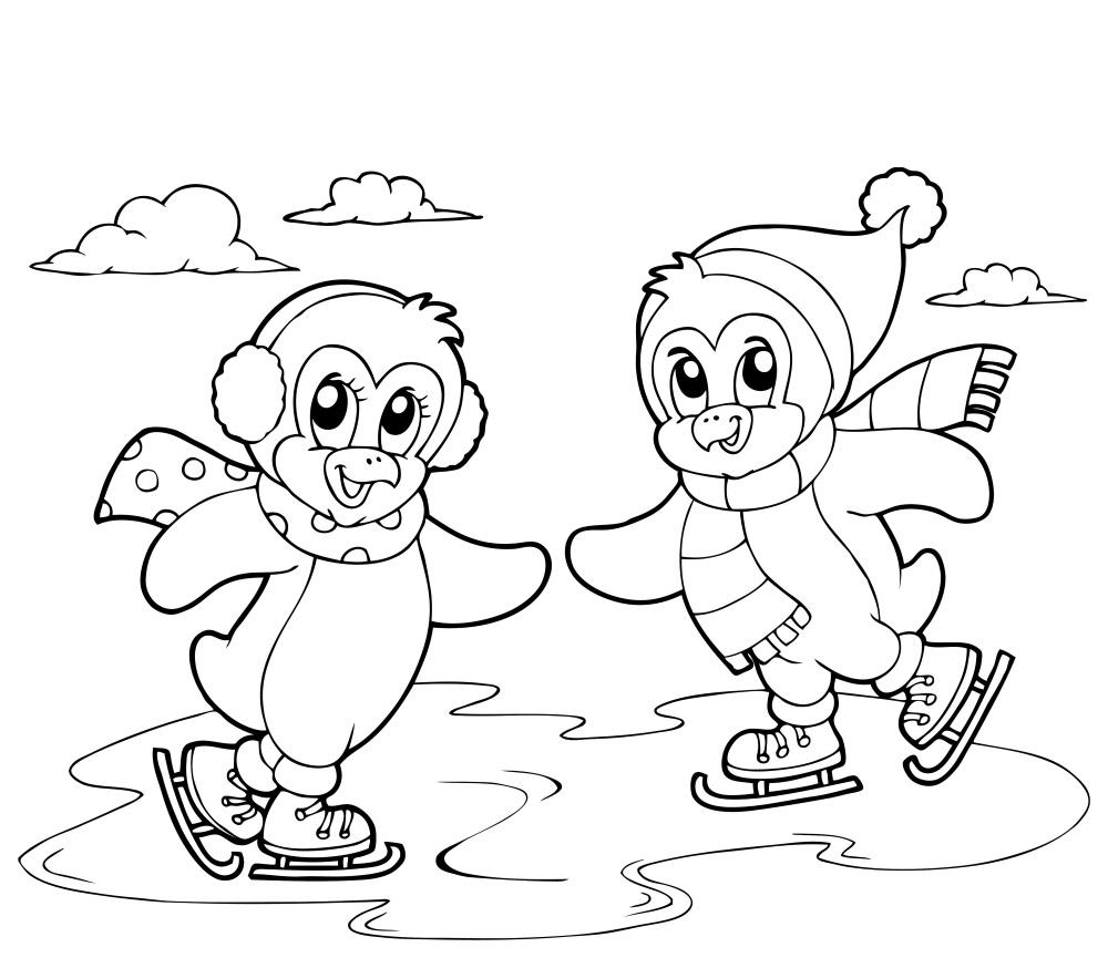 coloriage à dessiner hiver gratuit