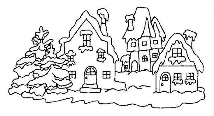dessin paysage montagne hiver
