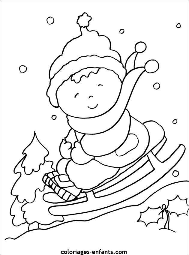 dessin à colorier sport hiver